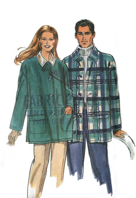 Easy Barn Jacket Pattern - Simplicity 8461 - Unisex Sizes XS - XL - Uncut