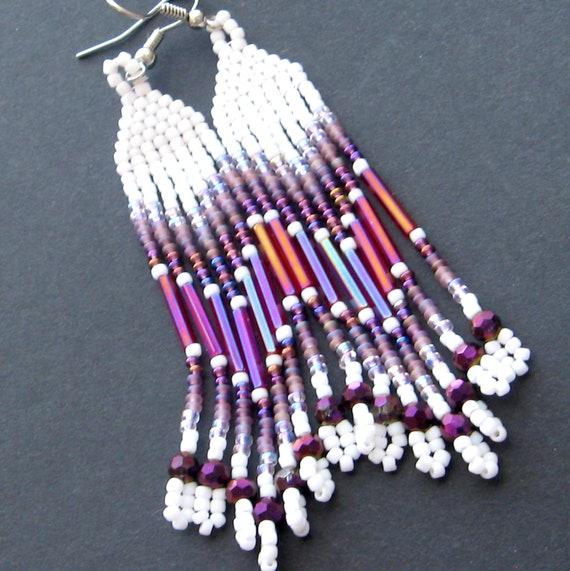 Native american beaded earrings seed bead earrings powwow for Easy native american crafts
