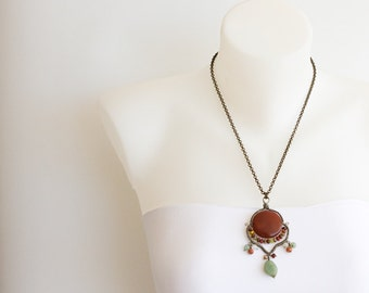 Bronze Chain Necklace, Wire Wrapped Pendant with Carnelian and Jade Gemstones and Glass Beads. Fringe Dangle Pendant, Brass Rolo Chain S111
