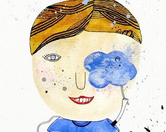 Cloud Print, Cloud Painting, Girl Illustration, Rain Art, Cloud Wall Decor, Rainy Day, Children Illustration - Note to my Friend