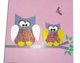 Owl Canvas - Childrens Art / Girls , Boys Nursery Decor - Pink , Blue , Yellow