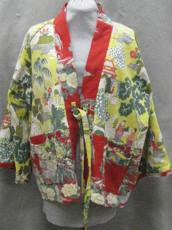 Vintage barkcloths make a two color Hippari jacket, yellow and red Asian patterns, M/L