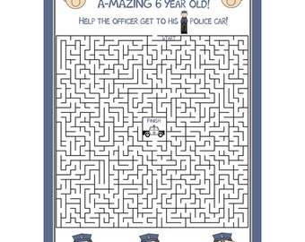 24 POLICE Birthday Maze Personalized Game Cards