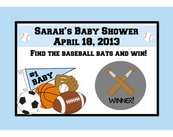 24  Personalized Baby Shower Scratch Off Game Cards  - Sports Theme