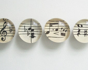 Vintage Sheet Music - Set of 4 (Magnets or Push Pins)