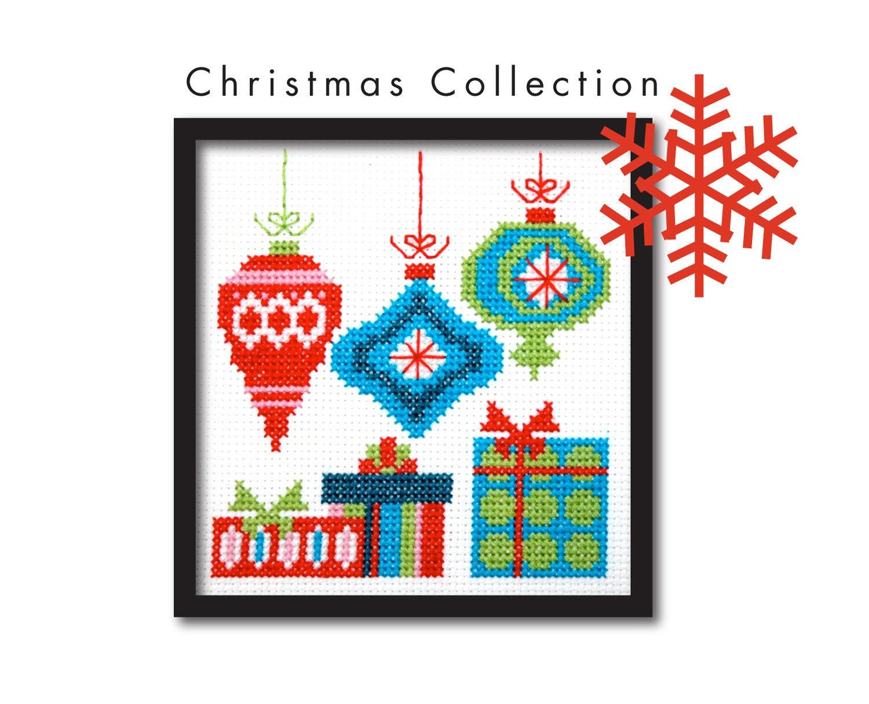 Mod Christmas Ornaments Cross Stitch Pattern by tinymodernist