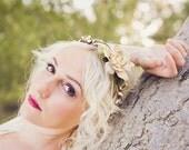 Woodland Wedding crown, Rustic head wreath, bridal hair accessory, wedding head piece, bridal circlet, pine cone rose hair piece - WIND SONG