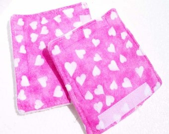 Seat Belt Strap Covers - White Hearts on Pink - READY MADE