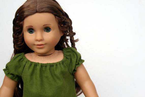 American Girl Doll Clothes - Evelyn Smock in Muted Moss Green