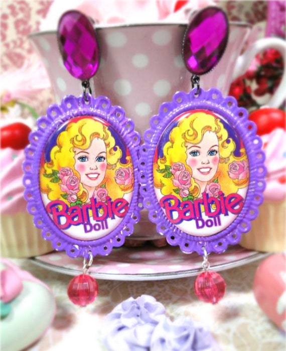 ReserveD Shabby Purple Retro Barbie Doll 80s Cameo Earrings dangle pink bead crystal rockstar vintage raver emo scene lolita urban