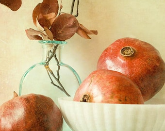 Vintage inspired still life . earthy terra cotta photograph . neutral tones . home decor . gift for her . 5x7 photograph . 3 Pomegranates