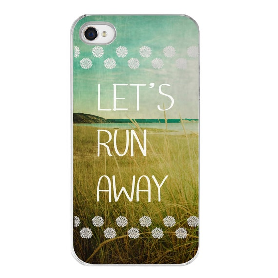 hipster iPhone 4 case . iphone 4s cover with quote . dreamy beach photography . typography . in stock . gift for her . Let's Run Away