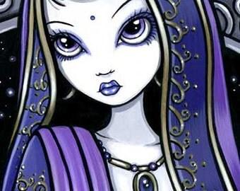 Kami Purple Sari Belly Dancer Fairy Canvas ACEO CU