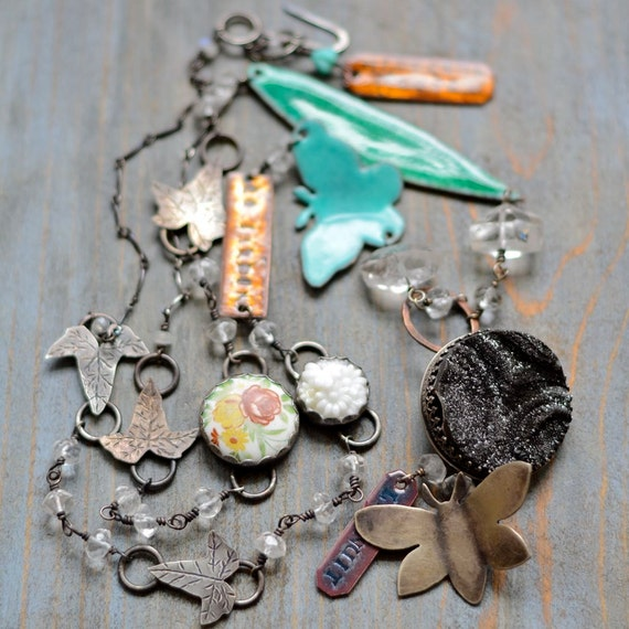 Necklace - Midnight in the Garden - Mixed Metal, Enamel, Vintage Cameo, Copper, Sterling, Quartz