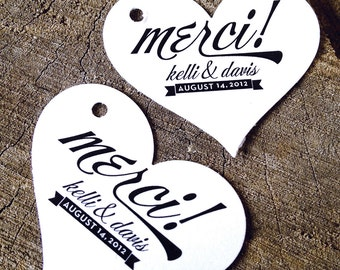 Heart shaped Wedding Favor Tags - Gift Tags  - Wedding Gift Tags - Merci Thank you tags - Love Hang tags - Set of 50