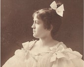 Antique Photo of  beautiful young lady, Maybeline, in  profile - super victorian hair and fashion - cab card wOw