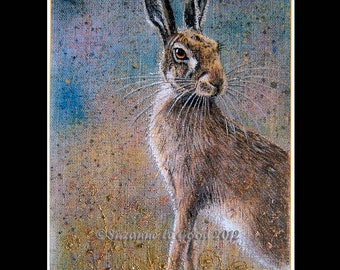 LARGE WILD HARE  Limited Edition print  by Suzanne Le Good