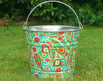 Fabric Decoupaged Galvanized Bucket Red Libby