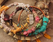 assemblage wire wrapped bangles with textile and beads