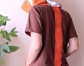 refashion brown mens tshirt with giant hood and pouch