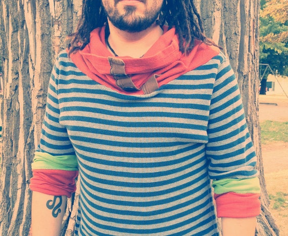 mens striped recycled hoodie cowl long sleeve large
