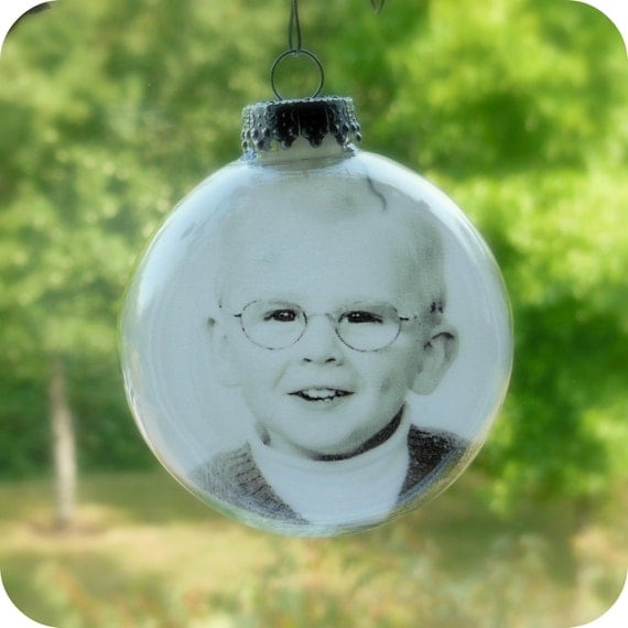 Glass Ball Photo Ornaments - Set of 2 Personalized Christmas Ornaments