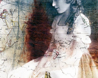 The Traveller's Wife, Vintage Photograph, Photomontage, Collage, Photograph, Woman Portrait, Maps, Home Decor, Wall Art