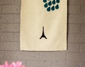 Linen Kitchen Tea Towel with Rainy Paris Eiffel Tower