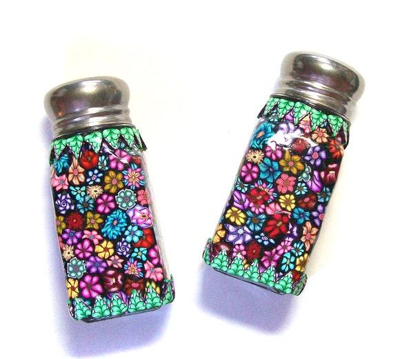 Salt and Pepper shaker set Millefiori polymer clay design nbrSP9