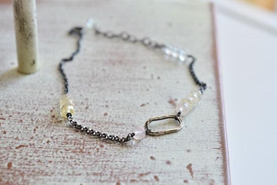 Minimalist Pastel Pink Yellow & Blue Aquamarine Oxidized Sterling Silver Chain Bracelet