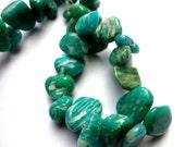 Genuine Amazonite Topdrilled Pebble Semi Precious Gemstone Beads - Half Strand