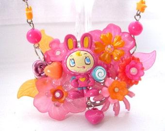 Kawaii bunny  necklace choker Pink gothic lolita