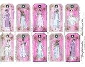 Jane Austen Georgian TAGS Printable Tags Regency Fashion Ladies Roses Pink mansfield park Pride