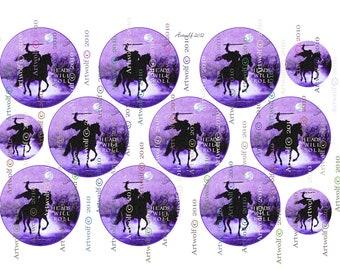 Instant Download HALLOWEEN DIGITAL TAGS Sleepy Hollow Halloween Headless horseman Printable