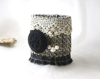 Victorian Steampunk Black White Textile Fabric Bracelet Cuff Crochet Button