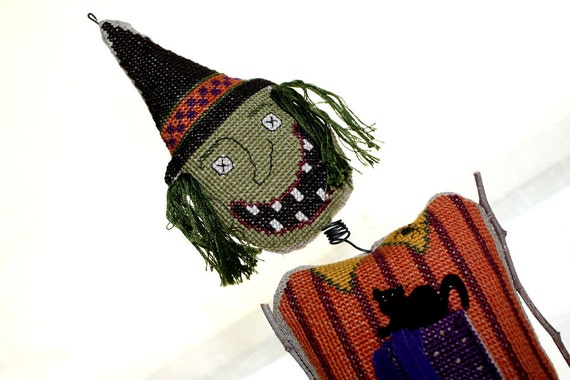 Cross Stitch Halloween Witch October Holiday