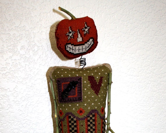 Cross Stitch Halloween Pumpkin Head October Holiday