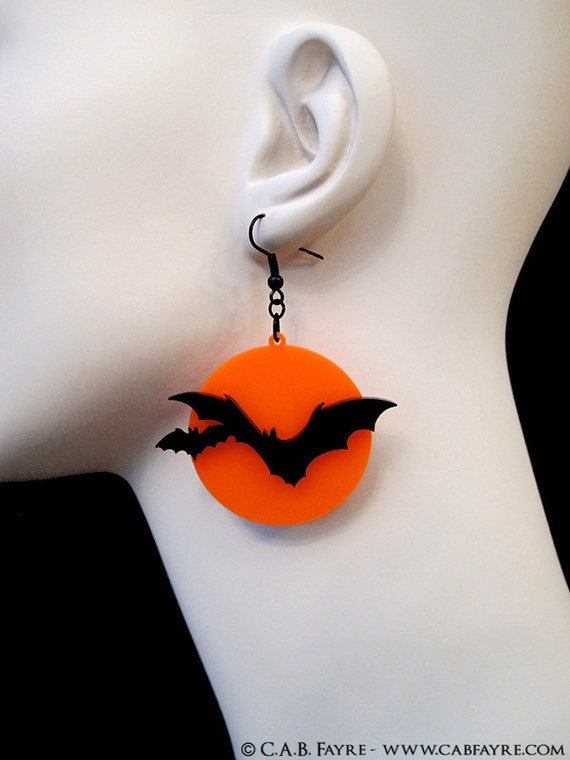 Over the Moon Bat Earrings - Acrylic Laser Cut Earrings (C.A.B. Fayre Original Design)