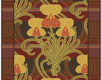 Antique Wallpaper adaptation  Iris Floral cross stitch pattern PDF