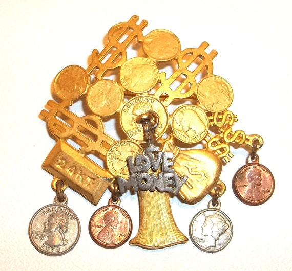Money Tree pin brooch Coins Gold Bar REG 14.00