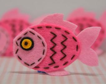 Set of 6pcs handmade felt fish--baby pink (FT946)