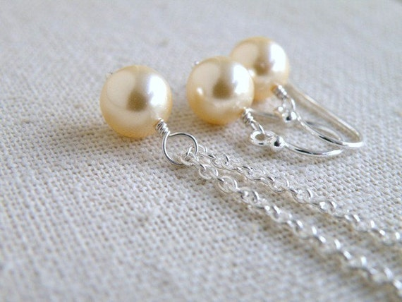 Earrings and Necklace Set Swarovski Light Gold Pearl Sterling