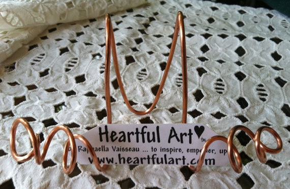 WIRE EASEL Handmade Medium Copper Display Stand Tabletop Placecard Holder Wedding Buffet Accessories Home Heartful Art by Raphaella Vaisseau