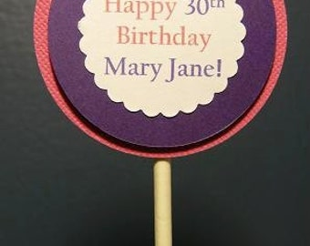 Cupcake Toppers, Set of 12, Happy 30th Birthday