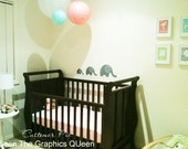 Elephant Wall Decals - Three Cute Elephants in Varying Sizes to Customize Your Kids Room - Removable Vinyl Decals - Your Choice of 45 Colors