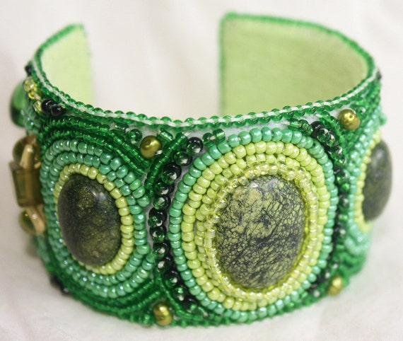 Springtime in the Midwest Beaded Cuff Bracelet