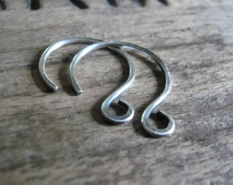 1 Pair of my HEAVY Large Solitude Sterling Silver Earwires - Handmade. Handforged. Oxidized & polished