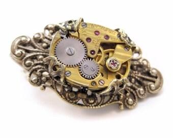 Steampunk Tie Bar, men's tie clip,  antique brass men's jewelry, alligator clip, gold tone watch tie bar, gift for men, wedding, anniversary