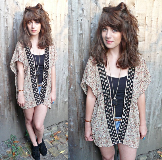 gorgeous handmade floral kimono/blouse with checked trimming