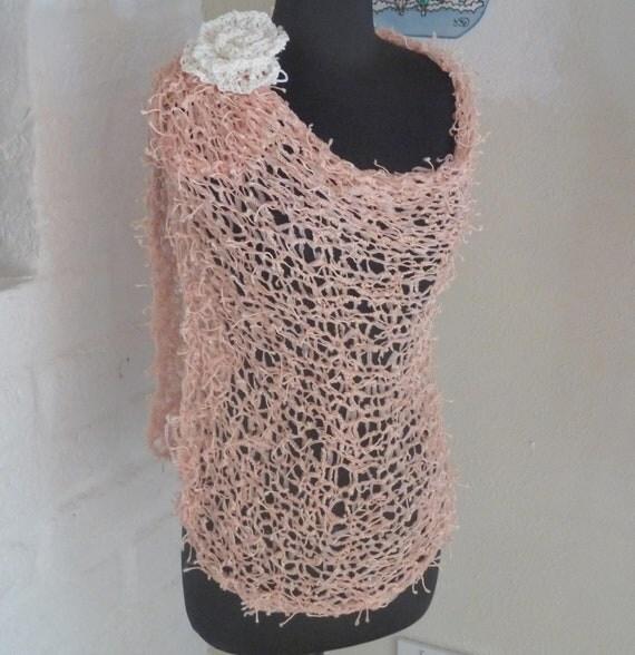 Knitted Apricot  Ribbon Wrap Shrug Shawl Shawl